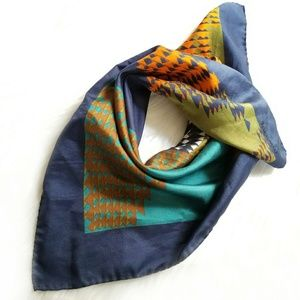 Vintage Jacqmar scarf geometric navy blue orange